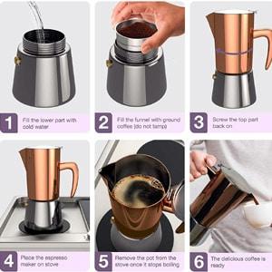 Bonvivo stainless steel stovetop espresso maker